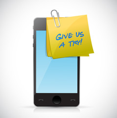 give us a try post on a phone. illustration design