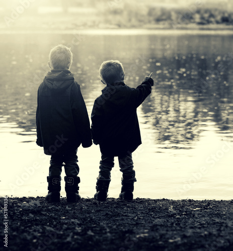 boys by lake