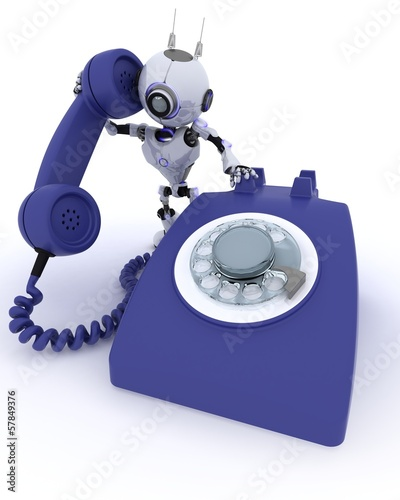 Robot with telephone