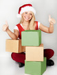 Girl shows thumbs up for many gifts