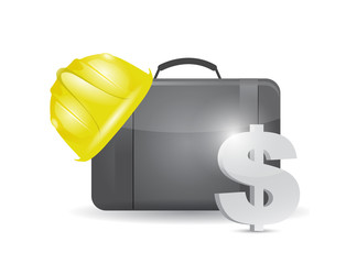 suitcase and construction helmet and dollar.
