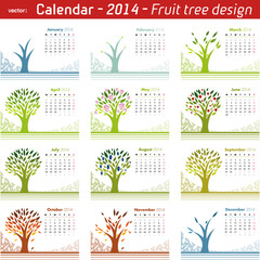Calendar 2014 Fruit Tree Design. Vector on white.