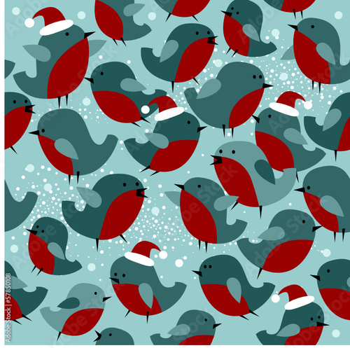 Christmas seamless pattern with Bullfinch birds