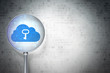 Cloud networking concept:  Cloud With Key with glass on digital