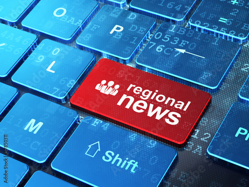News concept: Business People and Regional News on keyboard