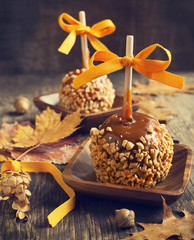 Homemade Taffy Apple with Peanuts
