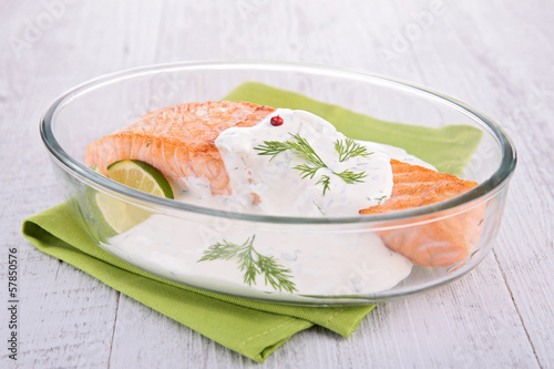 salmon with cream and dill