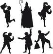 Sinterklaas en zwarte Pieten silhouettes