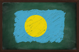 Palau flag painted with chalk on blackboard