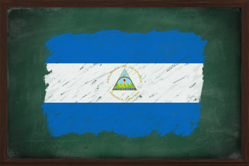 Nicaragua flag painted with chalk on blackboard