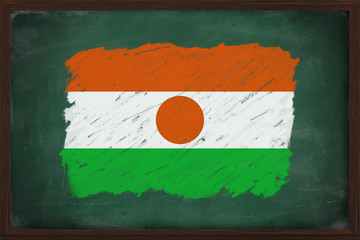 Niger flag painted with chalk on blackboard