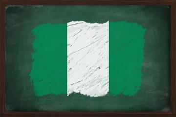 Nigeria flag painted with chalk on blackboard