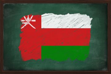 Oman flag painted with chalk on blackboard