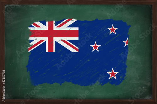 New Zealandflag painted with chalk on blackboard