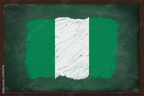 Nigeria flag painted with chalk on blackboard