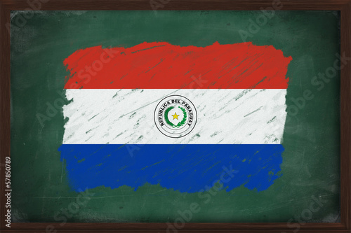 Paraguay flag painted with chalk on blackboard