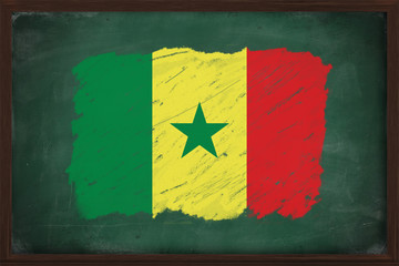 Senegal flag painted with chalk on blackboard