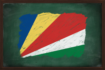 Seychelles flag painted with chalk on blackboard