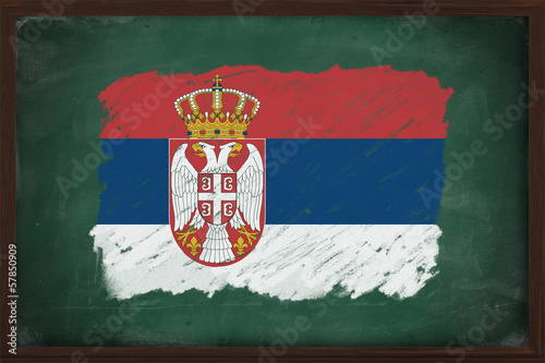 Serbia flag painted with chalk on blackboard