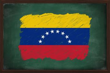 Venezuela flag painted with chalk on blackboard