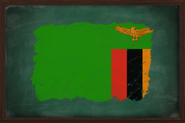 Zambia flag painted with chalk on blackboard