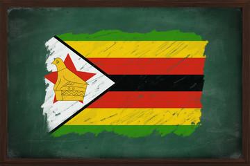 Zimbabwe flag painted with chalk on blackboard