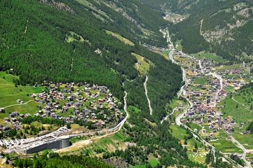 View of Saas Fee and Saas Grund, Switzerland