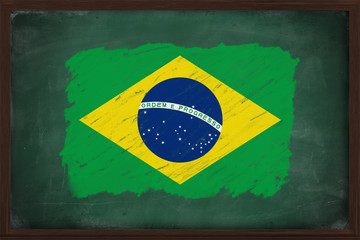 Brazil flag painted with chalk on blackboard