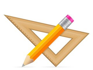 triangle ruler and pencil