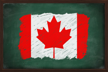 Canada flag painted with chalk on blackboard
