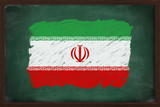 Iran flag painted with chalk on blackboard