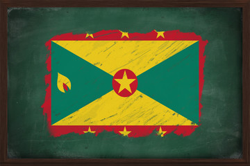 Grenada flag painted with chalk on blackboard
