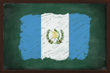 Guatemala flag painted with chalk on blackboard