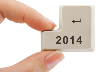 Computer button 2014 in hand