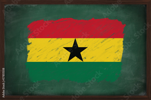 Ghana flag painted with chalk on blackboard
