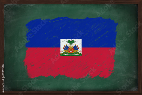 Haiti flag painted with chalk on blackboard