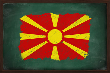 Macedonia flag painted with chalk on blackboard