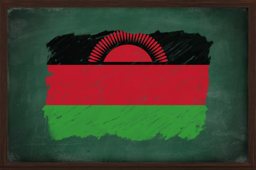 Malawi flag painted with chalk on blackboard