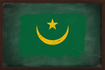 Mauritania flag painted with chalk on blackboard