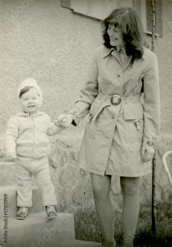 Young mother with her son - circa 1973