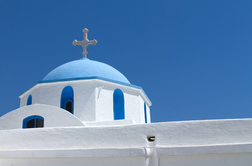church in Greece under blue sky