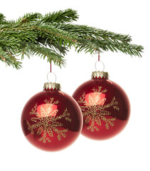 Rote Weihnachtskugel mit Muster