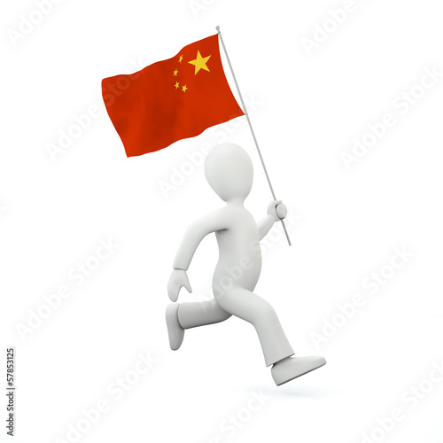 canvas print picture Holding a chinese flag