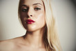 beautiful blond woman with red lips.close-up