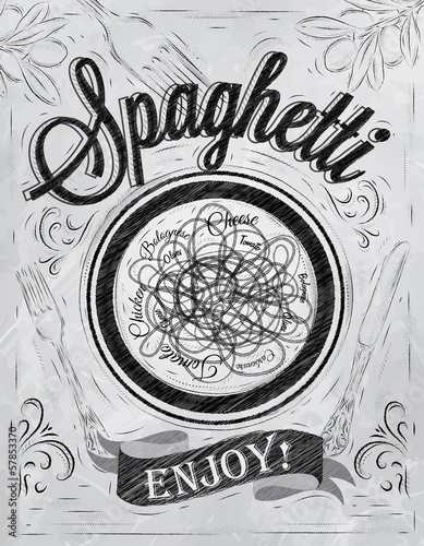 Poster lettering spaghetti enjoy! in retro style drawing coal