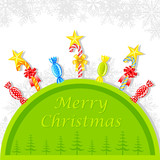 Colorful Cany in Christmas Background