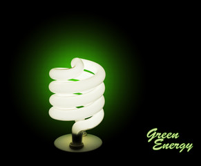 Green energy - energy efficient light bulb, lamp