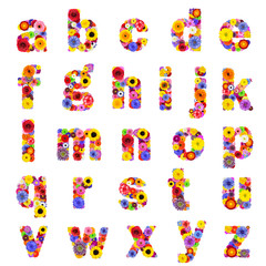 Full Floral Alphabet Isolated on White - Letters A to Z