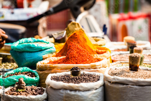 Closeup of spices on sale market.