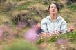 Attractive woman meditating